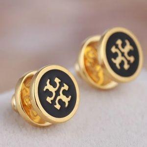 Tory Burch Gold/Black Enamel Logo Stud Earrings